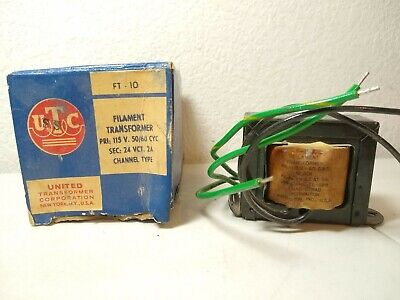 Vintage Utc United Electronics Filament Transformer Ft-10 - Never Used