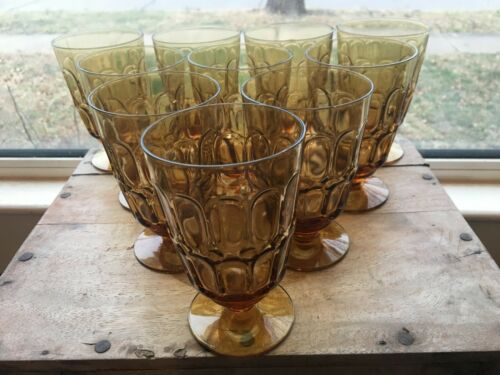 Ten (10) amber Fostoria MESA 13-oz. Goblets  1967-1974