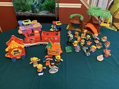Fisher Price Little People Treehouse Train Lot Of 34
