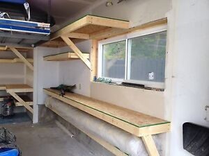Garage shelving / work bench / storage $30 per running foot