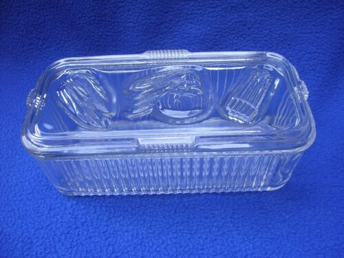 """Vintage Federal Clear Glass Ribbed Refrigerator Dish with Lid 8 1/2"""" Long"""