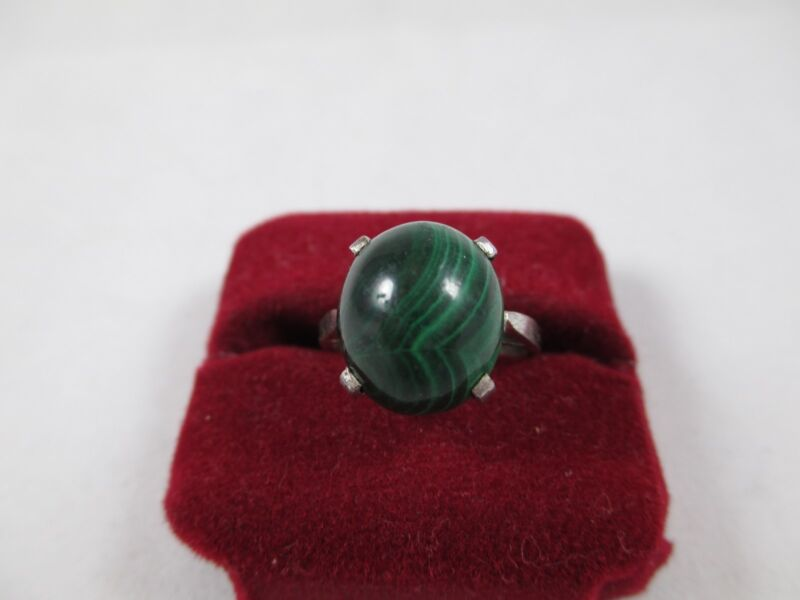 Vintage Sterling Silver Malachite Ring 138A