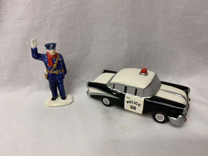 Dept. 56 Snow Village 1989 Calling All Cars #5174-8 2Pc. Set Police Car & Man