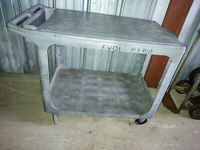 Rubbermaid 4525 Flat Shelf Plastic Service Utility Cart 44l 25w 33h Guc