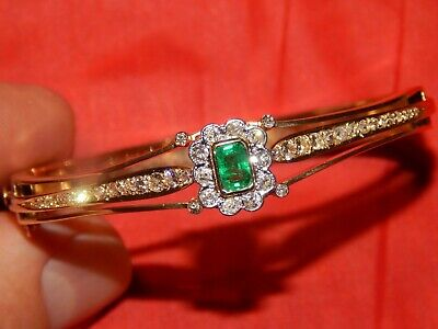 Yellow Gold Emerald Bracelet - 14K YELLOW GOLD 2.02 TCW BEZEL SET DIAMOND & EMERALD HINGED BANGLE BRACELET