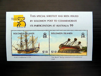 SOLOMON ISLANDS Wholesale 1999 World Stamp Expo £10 Ships M/Sheet x 50 FP1086