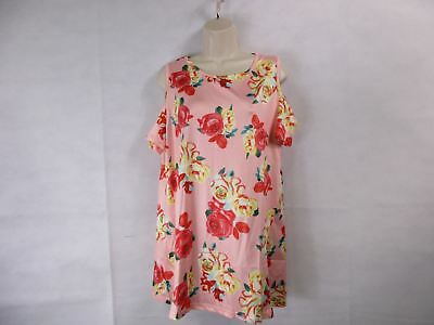 For G   Pl Womens Xl Pink Floral Print Cut Out Shoulder Short Sleeve Tops B New