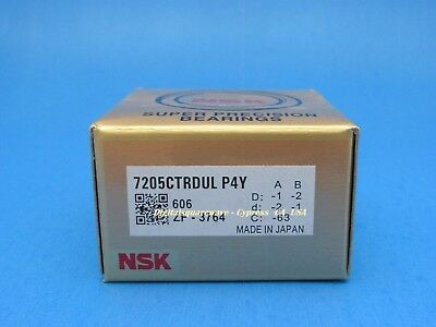 Nsk 7205ctrdulp4y Abec-7 Super Precision Spindle Bearings. Set Of Two