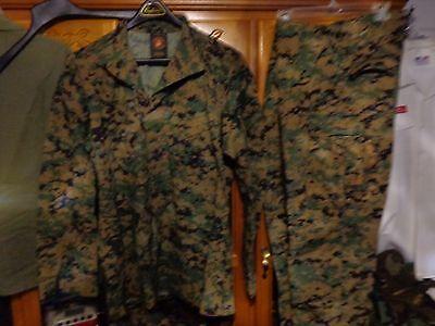 USMC MARPAT Uniform WOODLAND Combat Shirt & Pants in size LARGE LONG  LL  used