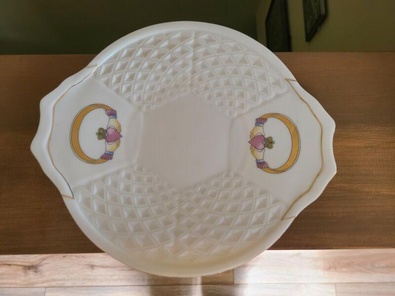 "Vintage Irish Parian Donegal ""CLADDAGH"" China 2-Handle Basket Weave Plate Server"