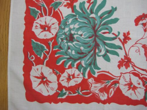 Vintage Red White & Green MORNING GLORY Floral Cotton Tablecloth 37 x 39 FLAWS