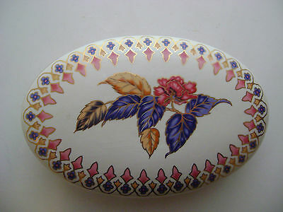 - PORTUGUESE PORCELAIN COVERED DISH OVAL SHAPE BEAUTIFUL FLORAL AND TRIMMED