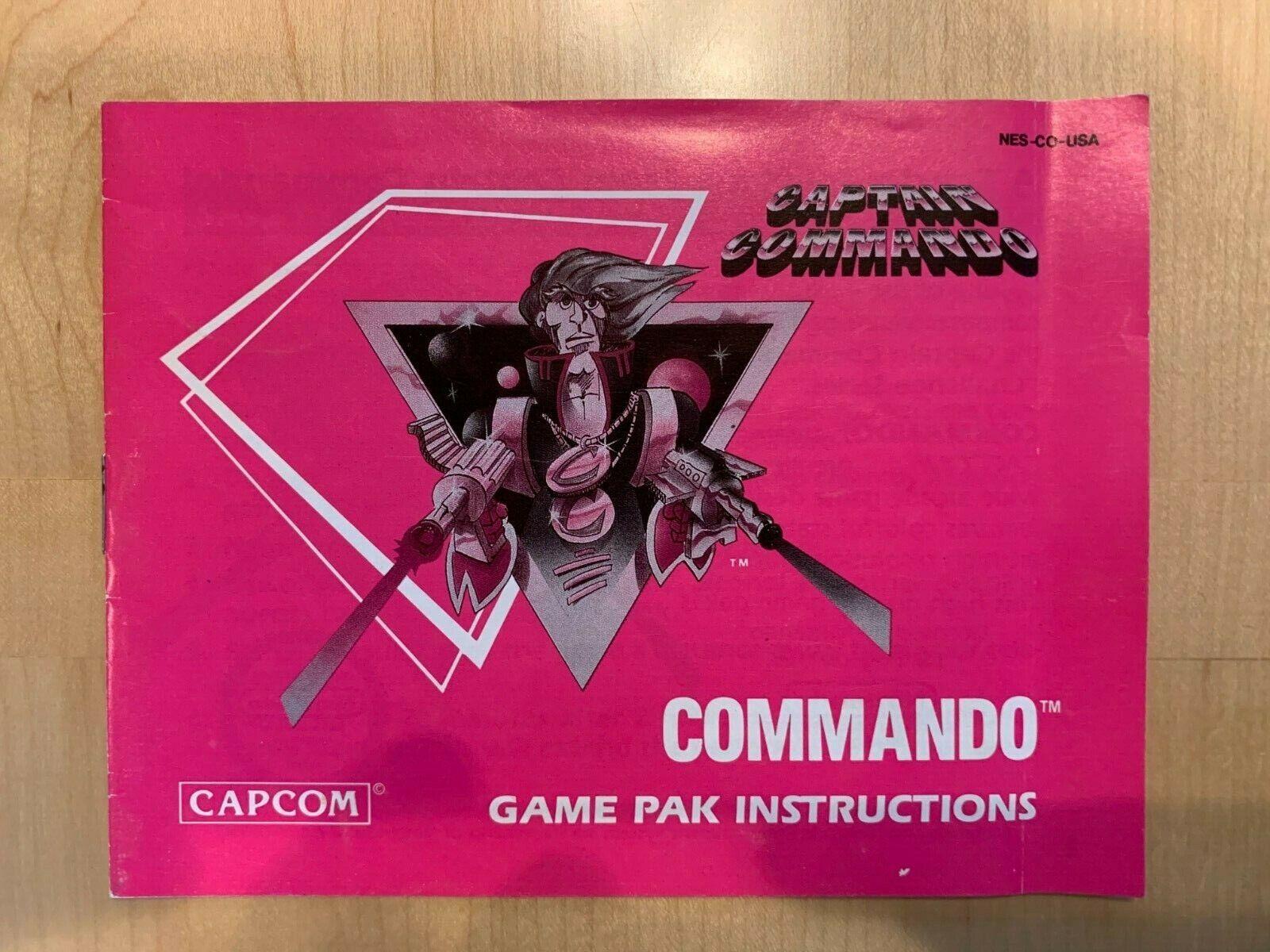 Captain Commando Nintendo NES MANUAL Only Excellent - $10.00