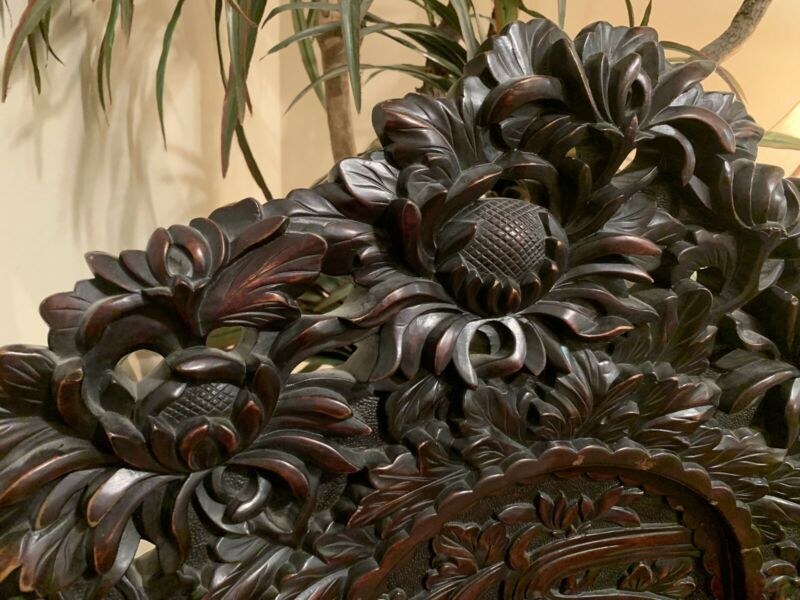 Antique** Asian** Hand-Carved **FLORAL **Throne Chair**RARE** Estate Find**