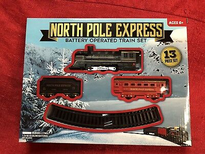 North Pole Express Battery Power Train  - 13 Piece Set- Oval Track - Kids Toy - Training Battery