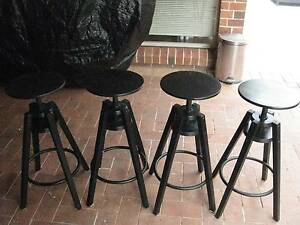 4 X Wooden adjustable Bar stools Kellyville The Hills District Preview
