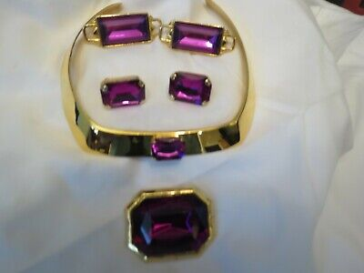 Vintage Gucci PAOLO Necklace 2 Pairs Earrings Brooch Set Excellent