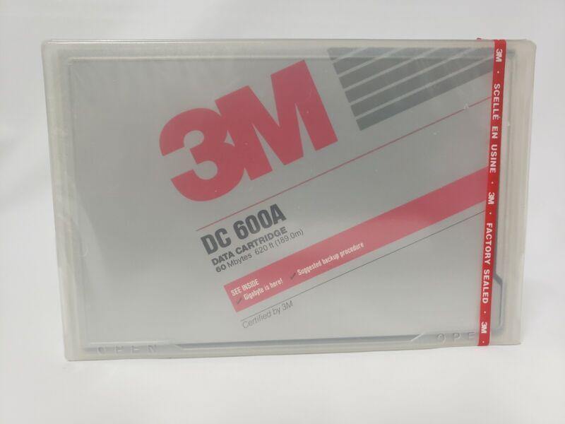 3M DC 600A Data Cartridge 60 Mbytes MB 620 Feet (189.0m) NOS Factory Sealed
