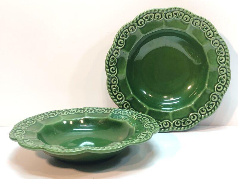 Certified International Florentine Soup Bowls Green Set Of 2