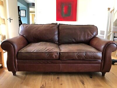 Laura Ashley 2 seat leather Southfield sofa