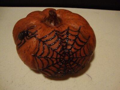 Country new distressed orange pumpkin sitter w/SPIDER WEB design (Halloween Pumpkin Designs Spider)