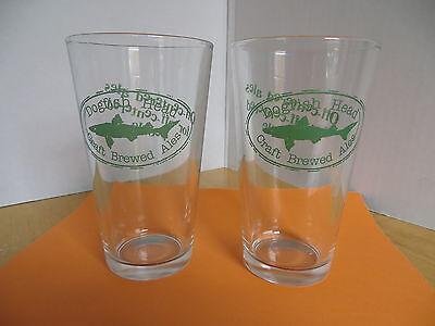 (Dogfish Head Ale Beer / Pub Glasses (2) Pair  Barware Advertising)