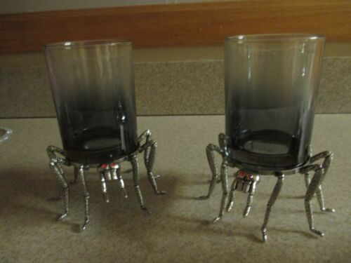 NWT Halloween Glass Candle Holders~Set Of 2 Large Spiders w/Red Eyes, Creepy!