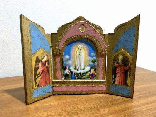 Vintage Italian FLORENTINE GILT Wood MADONNA Triptych  OUR LADY of FATIMA  Icon