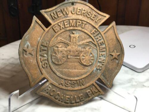 Orig VTG Bronze Plaque Maltese Cross Rochelle Park NJ State Exempt Firemens Dept