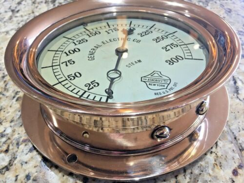 """GENERAL ELECTRIC CO. ASHCROFT 8"""" POLISHED BRONZE STEAM GAUGE BEAUTIFUL CASE"""