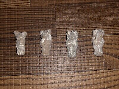 4 Carved South Central American Stone Fetish Effigy Totem Beads / Pendants Lot