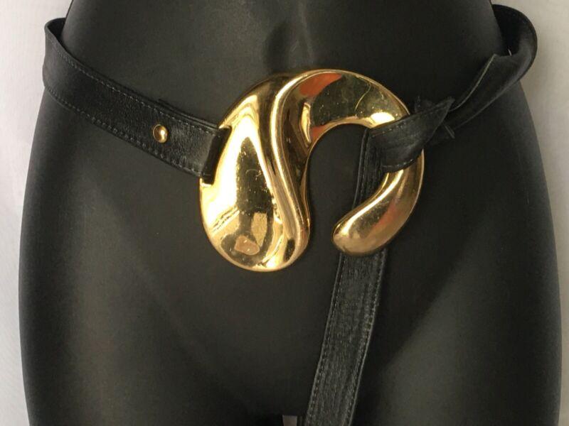 Vintage 80s Alexis Kirk Pebble Black Leather Wrap Belt & HUGE Gold Tone Buckle