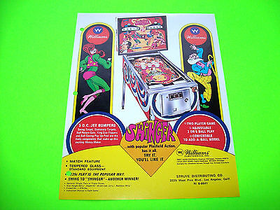 Williams SWINGER 1972 Original Flipper Game PINBALL MACHINE Promo Sales Flyer