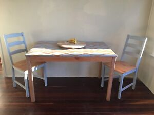 Timber chalk paint dining table