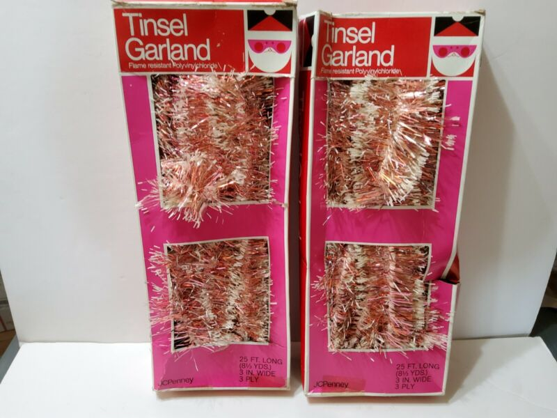 2 Vintage Boxes JCPenny Tinsel/Garland Pink/White 25