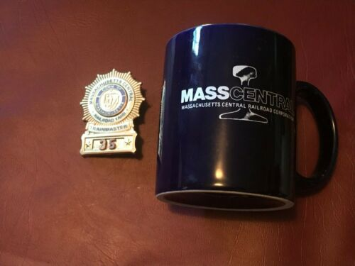 VINTAGE Massachusetts Central Railroad Trainmaster Employee Badge & Coffee Mug