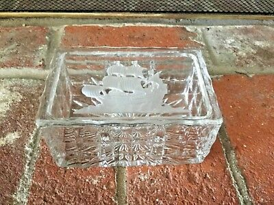 Incredible Crystal Box Engraved Old Time Ship On Lid 3 Compartments Inside