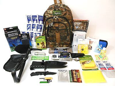 5 Day Emergency Survival Backpack Food & Water Gear Camping Hunting Zombie