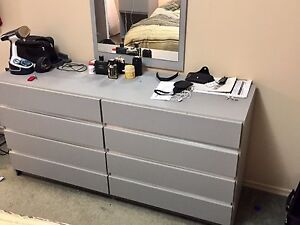 MOVING SALE!!!! Bedroom Set ( bed frame + dresser + tables)