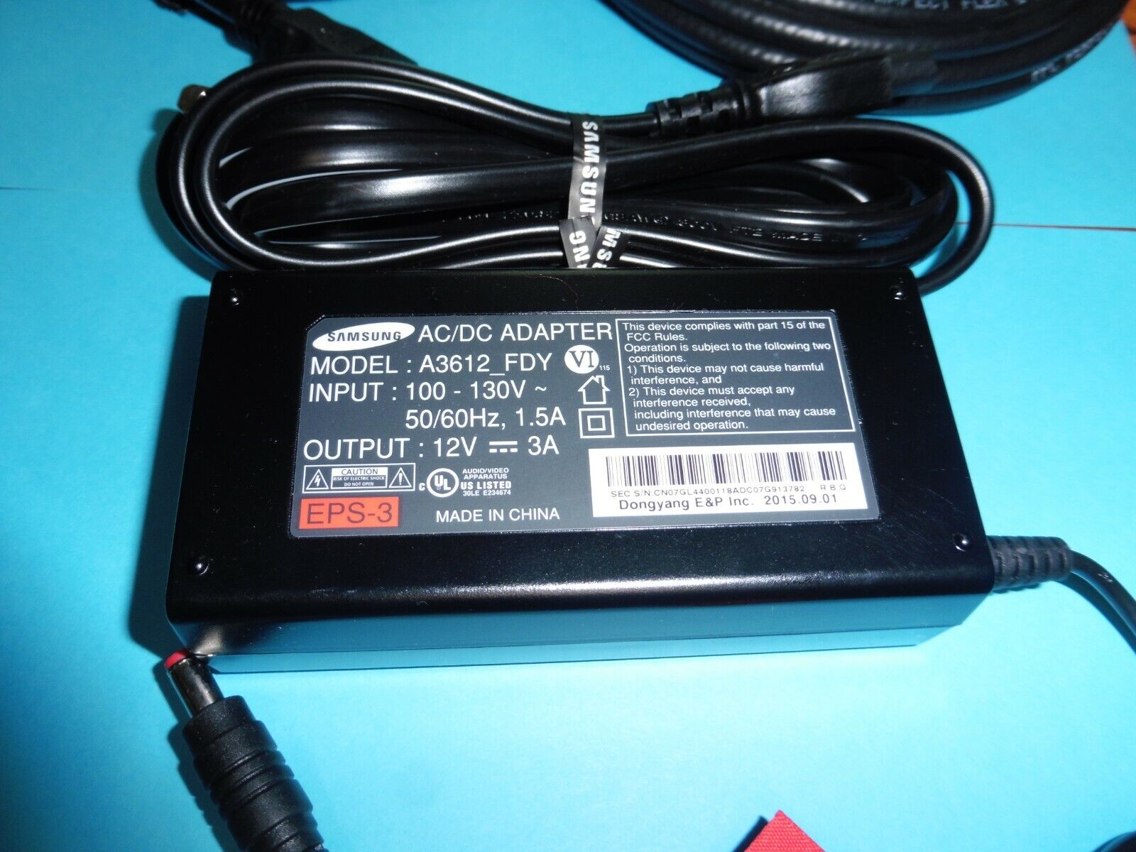SAMSUNG A3612 FDY 12VDC 3A AC/DC Adapter Power Supply Charger EPS-3 HDMI/COAX - $5.50