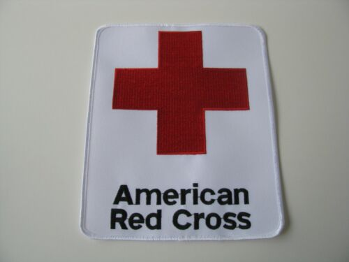 """LARGE 8""""in x 6.5"""" American Red Cross Logo Volunteer Vest Jacket Back White Patch"""