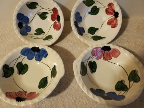"""4 VINTAGE BLUE RIDGE, SOUTHERN POTTERY, TAB SOUP BOWLS, BLUE/RED FLOWERS, """"NEAT"""