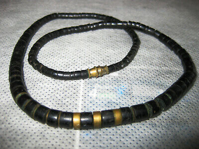 Surferkette - Halskette - schwarz/ gold - Modeschmuck - 70er Jahre Modeschmuck