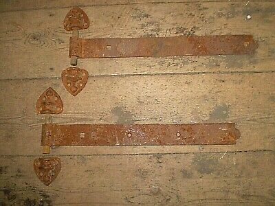 Large Pair of French 19th Century Door Hinges and Brackets,Architectural Salvage