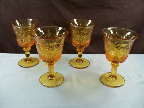 Set of 4 L.E. Smith Amber Glass Stars & Eagle Patriotic Water Wine Goblets