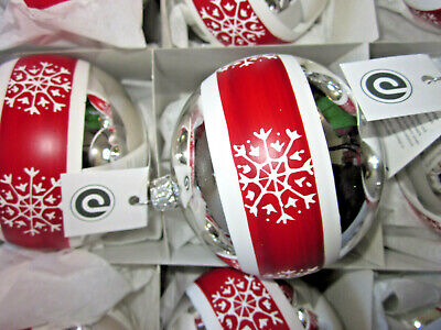 silber+ weiß+ rot❄❄Schneeflocke❄ Glas * mundgeblasen ++8cm  (Rote Schneeflocke)
