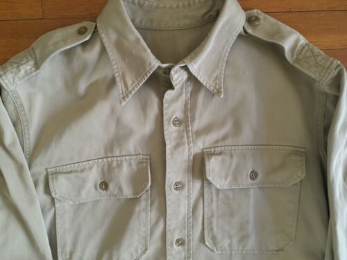 Vintage US Army Khaki Stand-up Collar Shirt with Epaulets (Small) Vtg Military