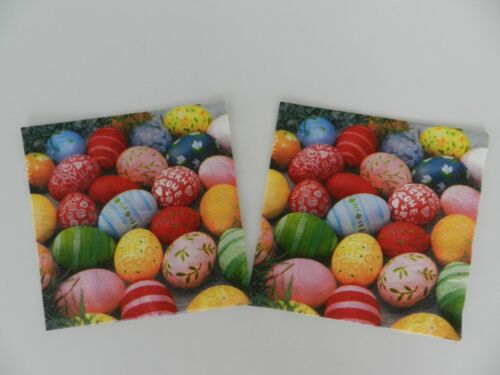 2 (Two) Single Lunch Size 3 Ply Paper Napkins for Decoupage Craft Easter Eggs