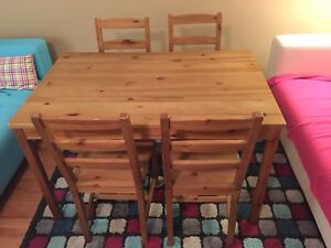 Ikea Solid Pine Table w/ Four Chairs - Free Delivery