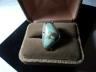 1940s Jewelry Styles and History Vintage Sterling  Light green Turquoise Lady's ring 1940's Estate Find . $149.00 AT vintagedancer.com